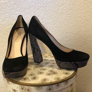 Prada Black Suede Snake Skin Platform Heels